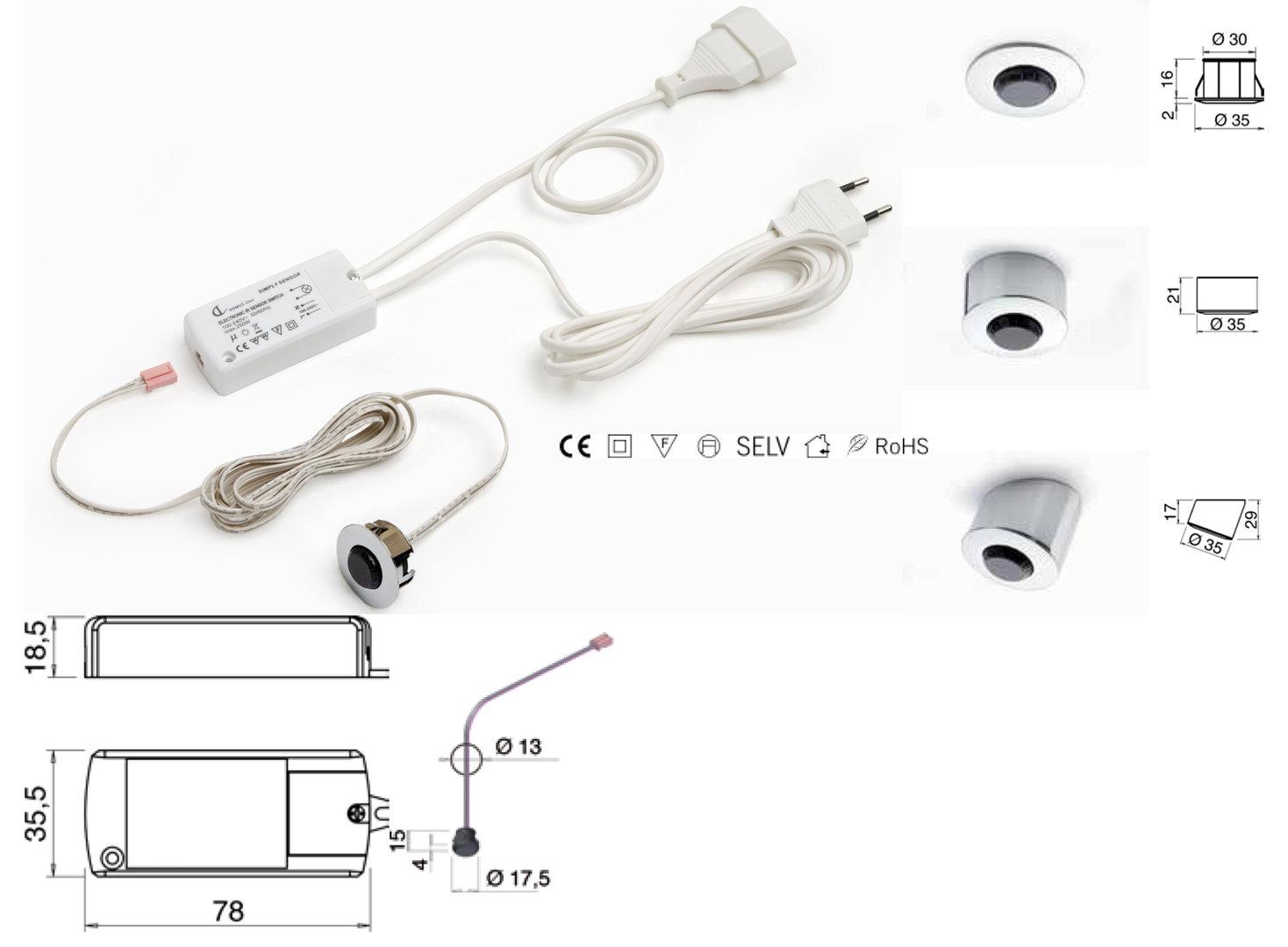 versch Licht-u.Gehäusefarben METRIS IP44LED-Einbauleuchte Schutzklasse IP44